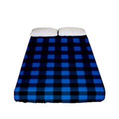 Lumberjack Fabric Pattern Blue Black Fitted Sheet (full/ Double Size) by EDDArt