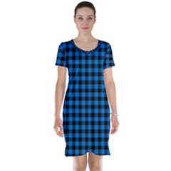 Lumberjack Fabric Pattern Blue Black Short Sleeve Nightdress by EDDArt