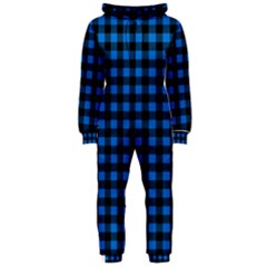 Lumberjack Fabric Pattern Blue Black Hooded Jumpsuit (ladies)
