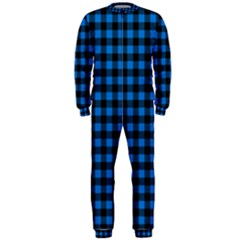 Lumberjack Fabric Pattern Blue Black Onepiece Jumpsuit (men)  by EDDArt