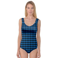 Lumberjack Fabric Pattern Blue Black Princess Tank Leotard  by EDDArt