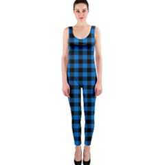 Lumberjack Fabric Pattern Blue Black Onepiece Catsuit by EDDArt