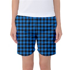Lumberjack Fabric Pattern Blue Black Women s Basketball Shorts by EDDArt