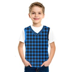 Lumberjack Fabric Pattern Blue Black Kids  Sportswear by EDDArt