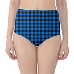 Lumberjack Fabric Pattern Blue Black High-waist Bikini Bottoms by EDDArt