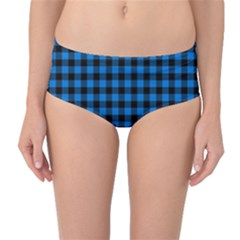 Lumberjack Fabric Pattern Blue Black Mid-waist Bikini Bottoms by EDDArt