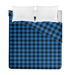 Lumberjack Fabric Pattern Blue Black Duvet Cover Double Side (full/ Double Size) by EDDArt