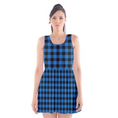 Lumberjack Fabric Pattern Blue Black Scoop Neck Skater Dress by EDDArt