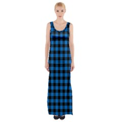 Lumberjack Fabric Pattern Blue Black Maxi Thigh Split Dress by EDDArt