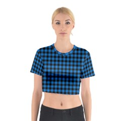 Lumberjack Fabric Pattern Blue Black Cotton Crop Top by EDDArt