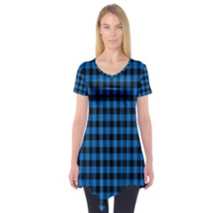 Lumberjack Fabric Pattern Blue Black Short Sleeve Tunic  by EDDArt