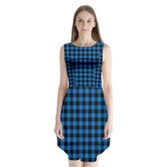 Lumberjack Fabric Pattern Blue Black Sleeveless Chiffon Dress   by EDDArt