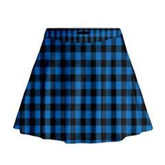 Lumberjack Fabric Pattern Blue Black Mini Flare Skirt by EDDArt