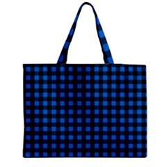 Lumberjack Fabric Pattern Blue Black Medium Zipper Tote Bag by EDDArt