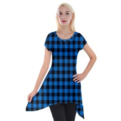 Lumberjack Fabric Pattern Blue Black Short Sleeve Side Drop Tunic