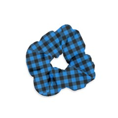 Lumberjack Fabric Pattern Blue Black Velvet Scrunchie