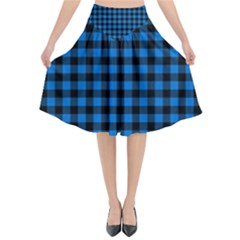 Lumberjack Fabric Pattern Blue Black Flared Midi Skirt by EDDArt
