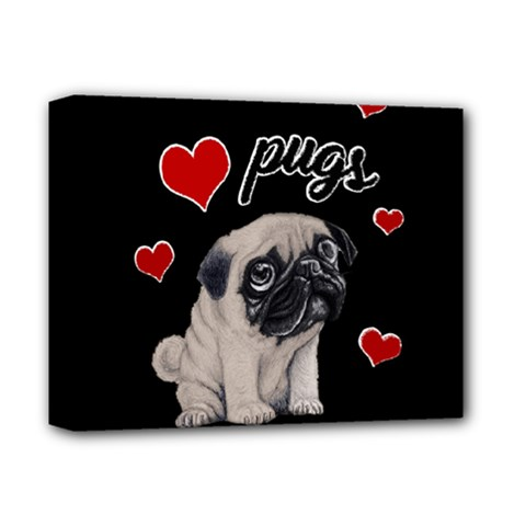 Love Pugs Deluxe Canvas 14  X 11
