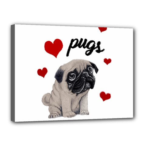 Love Pugs Canvas 16  X 12