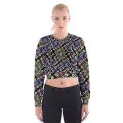 Colorful Floral Collage Pattern Cropped Sweatshirt by dflcprintsclothing