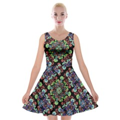 Colorful Floral Collage Pattern Velvet Skater Dress by dflcprintsclothing