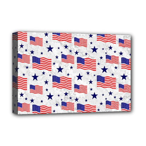 Flag Of The Usa Pattern Deluxe Canvas 18  X 12   by EDDArt