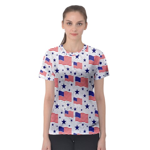 Flag Of The Usa Pattern Women s Sport Mesh Tee by EDDArt