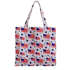 Flag Of The Usa Pattern Zipper Grocery Tote Bag by EDDArt
