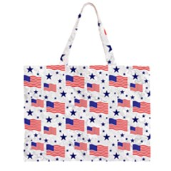 Flag Of The Usa Pattern Zipper Large Tote Bag by EDDArt