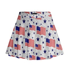 Flag Of The Usa Pattern Mini Flare Skirt by EDDArt