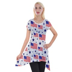 Flag Of The Usa Pattern Short Sleeve Side Drop Tunic by EDDArt