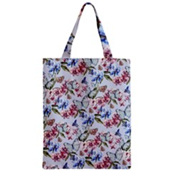 Watercolor Flowers Butterflies Pattern Blue Red Zipper Classic Tote Bag by EDDArt