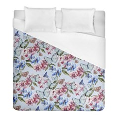 Watercolor Flowers Butterflies Pattern Blue Red Duvet Cover (full/ Double Size) by EDDArt