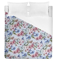 Watercolor Flowers Butterflies Pattern Blue Red Duvet Cover (queen Size) by EDDArt