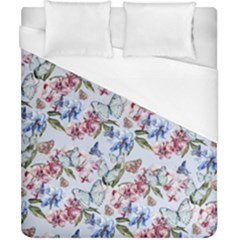 Watercolor Flowers Butterflies Pattern Blue Red Duvet Cover (california King Size) by EDDArt