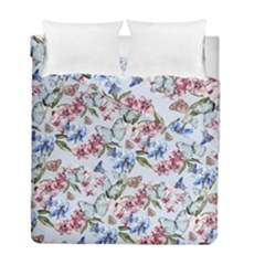 Watercolor Flowers Butterflies Pattern Blue Red Duvet Cover Double Side (full/ Double Size) by EDDArt