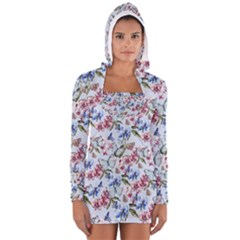 Watercolor Flowers Butterflies Pattern Blue Red Women s Long Sleeve Hooded T-shirt by EDDArt