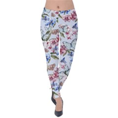 Watercolor Flowers Butterflies Pattern Blue Red Velvet Leggings by EDDArt