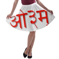 Hindu Om Symbol In Assamese, Bengali, And Oriya Languages  A Line Skater Skirt by abbeyz71