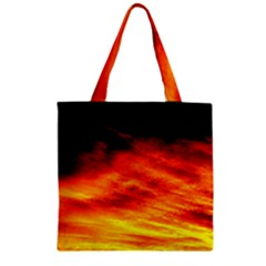 Black Yellow Red Sunset Zipper Grocery Tote Bag by Costasonlineshop