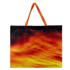 Black Yellow Red Sunset Zipper Large Tote Bag