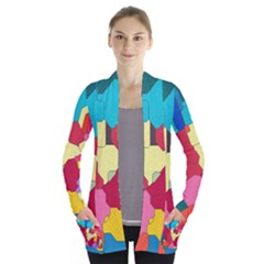 Colorful Leather Pieces       Women s Open Front Pockets Cardigan