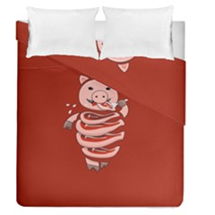 Red Stupid Self Eating Gluttonous Pig Duvet Cover Double Side (queen Size) by CreaturesStore