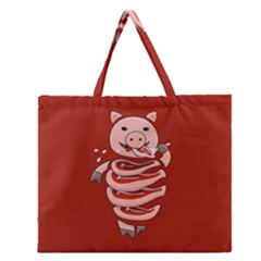 Red Stupid Self Eating Gluttonous Pig Zipper Large Tote Bag by CreaturesStore