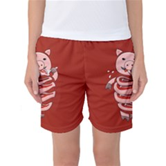 Red Stupid Self Eating Gluttonous Pig Women s Basketball Shorts by CreaturesStore