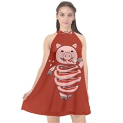 Red Stupid Self Eating Gluttonous Pig Halter Neckline Chiffon Dress  by CreaturesStore