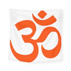 Hindu Om Symbol (orange) Square Tapestry (small) by abbeyz71