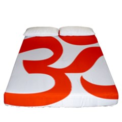 Hindu Om Symbol (orange) Fitted Sheet (california King Size) by abbeyz71