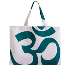 Hindu Om Symbol (teal)  Medium Zipper Tote Bag by abbeyz71