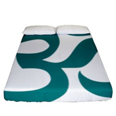 Hindu Om Symbol (teal) Fitted Sheet (queen Size) by abbeyz71